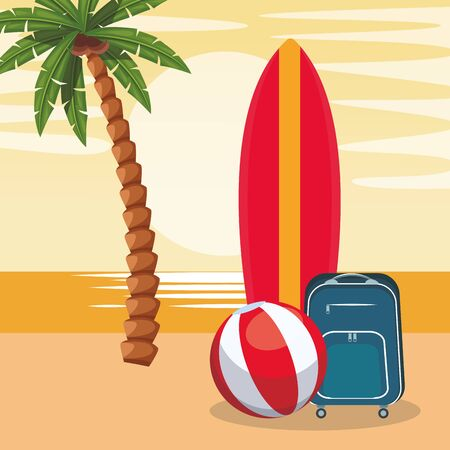 beach colorful design with surfboard with ball and suitcase, colorful design. vector illustration 일러스트