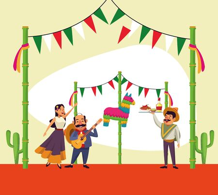 Mexican people design, Mexico culture tourism landmark latin and party theme Vector illustration