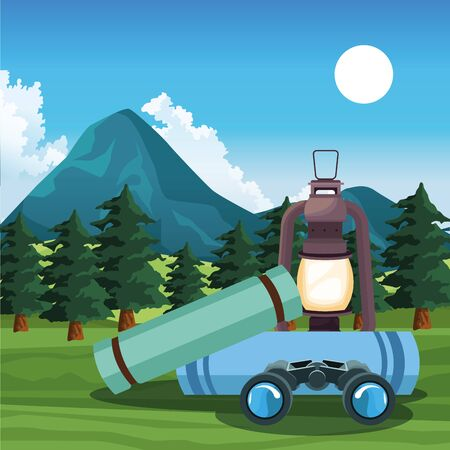 Beautiful mountains and trees landscape with lantern and sleeping bags, colorful design, vector illustration