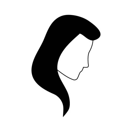 avatar woman face with long hair over white background, vector illustration