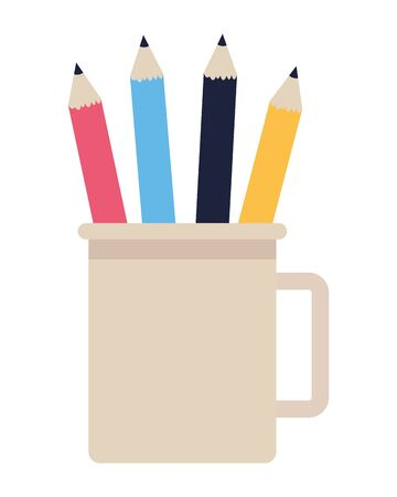 Pencils in cups office cartoon isolated ,vector illustration graphic design.