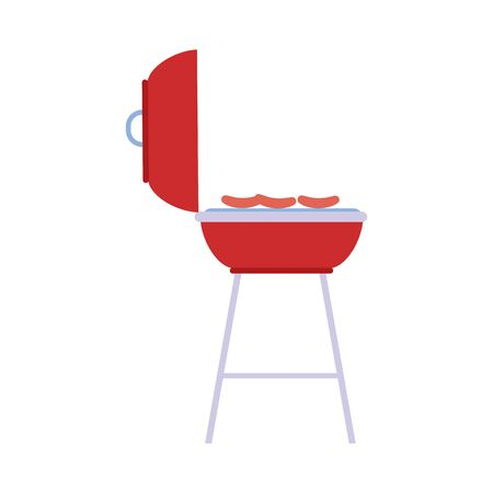 bbq grill with sausages over white background, vector illustration