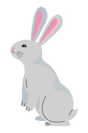 Cute rabbit standing pet animal cartoon ,vector illustration graphic design. Çizim