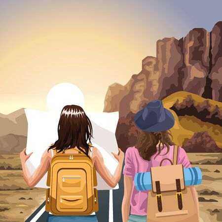 Beautiful Western landscape with traveler women with backpacks, colorful design, vector illustration