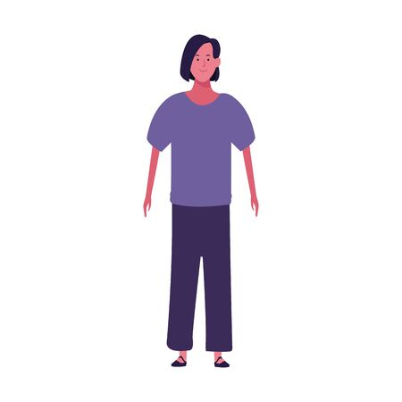 cartoon woman standing wearing casual clothes over white background, vector illustration