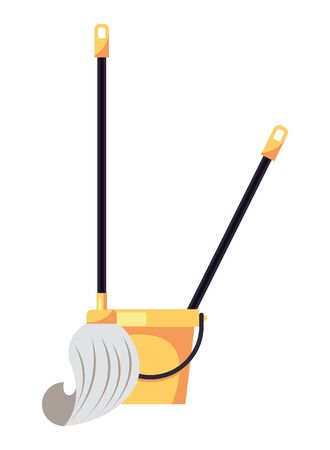 housekepping bucket tool with mop vector illustration design