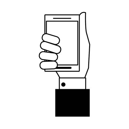 technology device smartphone hand holding cartoon vector illustration graphic design in black and white