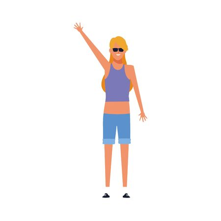 cool girl standing with arm up and wearing sunglasses over white background, vector illustration