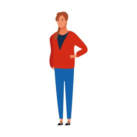 cartoon adult woman wearing casual clothes over white background, vector illustration