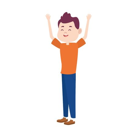 cartoon tennage boy with arms up icon over white background, colorful design. vector illustration