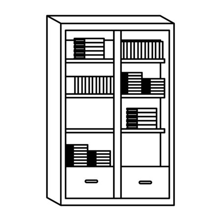 Library with books and drawers ,vector illustration graphic design. Stock Vector - 137093139