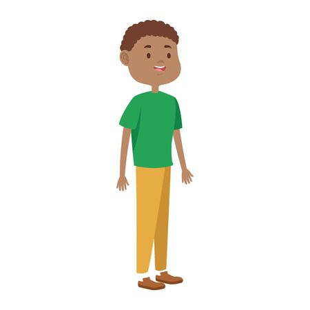 cartoon tennage boy icon over white background, vector illustration Ilustração
