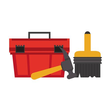 Construction tools toolbox and paint brush with hammer vector illustration graphic design