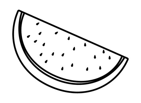 Watermelon fresh fruit sliced cartoon vector illustration graphic design