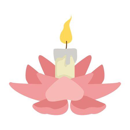 bougie allumée sur dessin animé de fleurs, conception graphique d'illustration vectorielle.