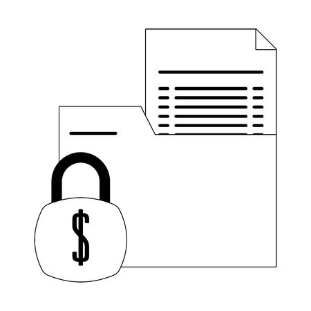Bank documents folder with padlock symbol in black and white vector illustration