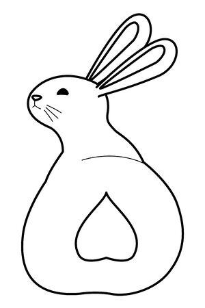 Cute rabbit pet back animal cartoon ,vector illustration graphic design.