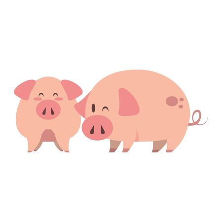 cute animals pigs farm mammal pet cartoon vector illustration graphic design Illustration