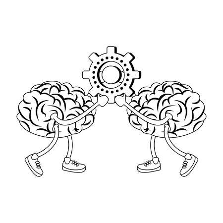 Cerebros con zapatos con diseño gráfico de ilustración de vector de dibujos animados de engranaje