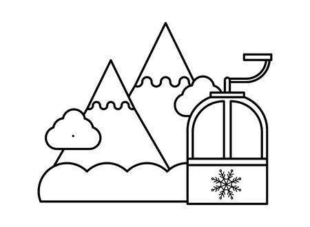snow mountains with cableway icon vector illustration design 向量圖像