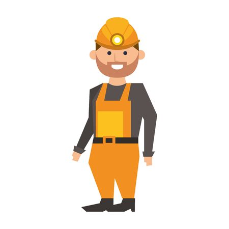 Mining worker with helmet and overalls cartoon vector illustration graphic design Vettoriali