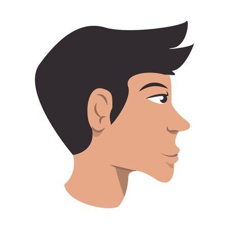 Diseño gráfico del ejemplo del vector de la historieta aislada de la vista lateral de la historieta de la cara del hombre