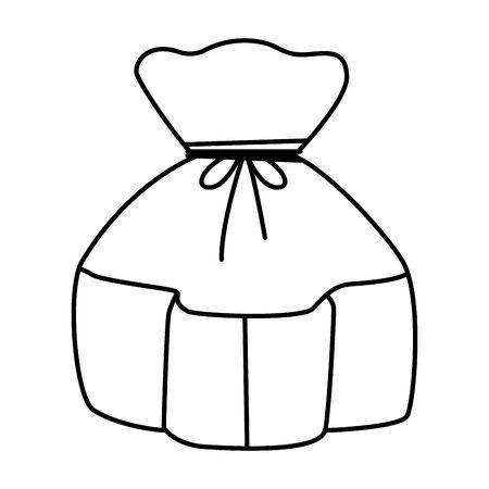 Bag sack with tie cartoon ,vector illustration graphic design.