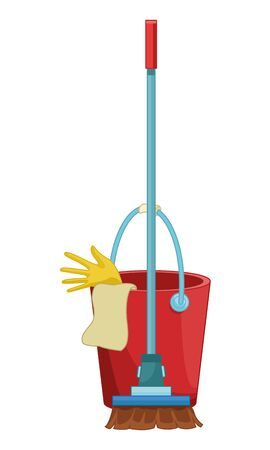 cleaning and hygiene equipment broom next to a cleaning bucket with glove and a cloth vector illustration graphic design Illustration