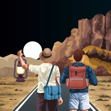 traveler men with bags and beautiful night western landscape, colorful design , vector illustration