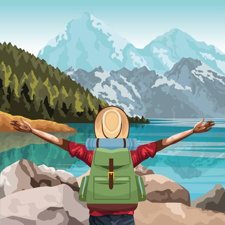 beautiful landscape with traveler man with his arms wide open, colorful design, vector illustration Vecteurs