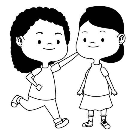 Glückliche Kindermädchen, die Spaßvektorillustrations-Grafikdesign spielen und haben.