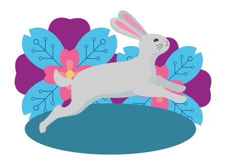 Cute rabbit playing in flowers cartoon ,vector illustration graphic design.