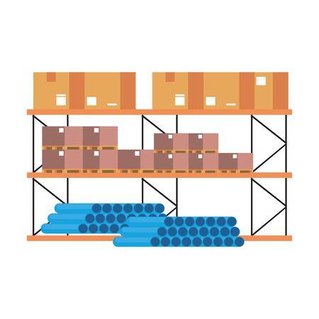 Étagère d'entrepôt avec des boîtes de tuyaux en pvc et illustration vectorielle de marchandises Vecteurs