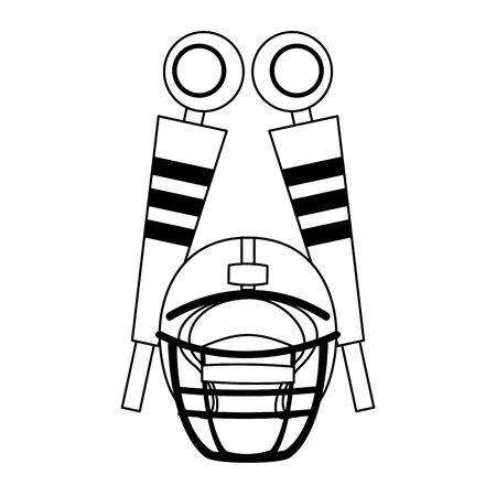 american football sport game helmet with sidelines cartoon vector illustration graphic design Illustration