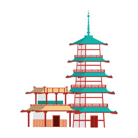 pagoda temple and buildings icon over white background, vector illustration