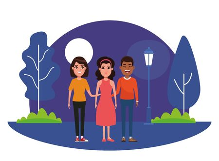 group of avatar person avatar afroamerican man smiling,woman with short hair and woman with bandana and dress profile picture cartoon character portrait outdoor in the park with trees and a street lamp at night with moon vector illustration graphic design