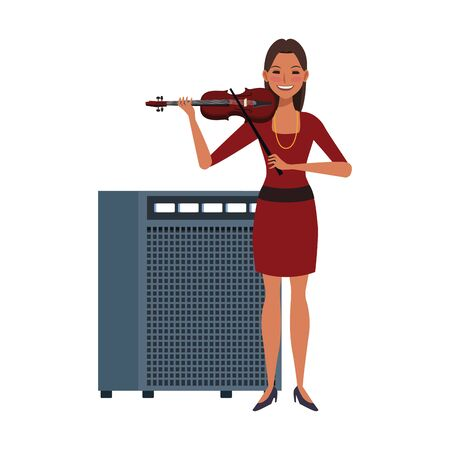 cartoon woman with a violin and sound amplifier over white background, vector illustration Çizim