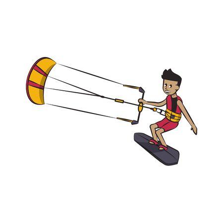Kitesurfing man on surf board water extreme sport vector illustration graphic design