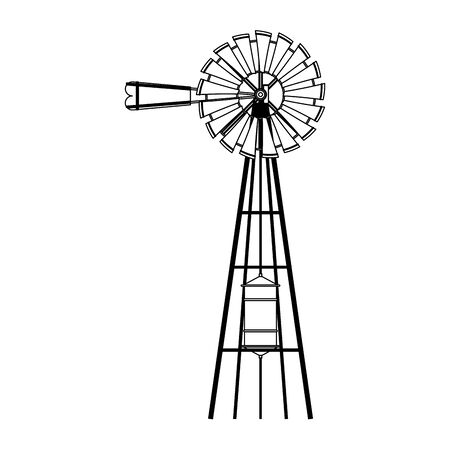wind water pump icon over white background, vector illustration