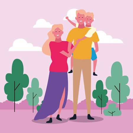 Happy family with son in the park over pink background, colorful design. vector illustration