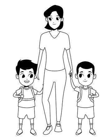 Mère célibataire de famille avec deux enfants tenant des sacs à dos d'école vector illustration graphisme