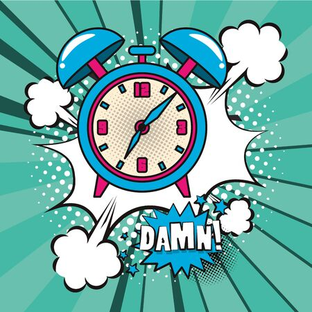 poster pop art style with alarm clock vector illustration design