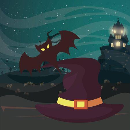 halloween dark scene with witch hat vector illustration design
