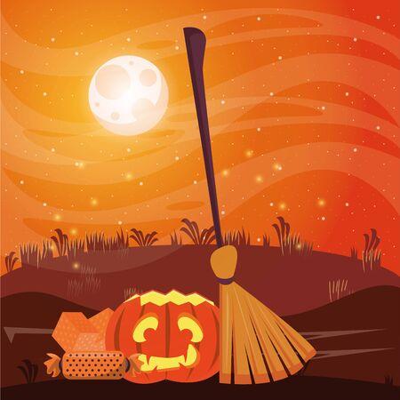 halloween dark scene with pumpkin and candies vector illustration design
