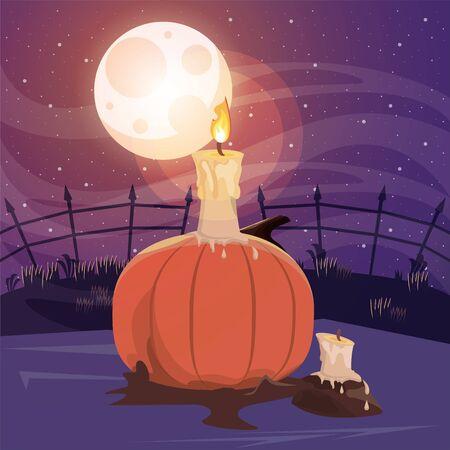 halloween dark scene with pumpkin vector illustration design Ilustração