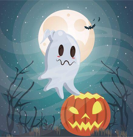 halloween dark scene with ghost vector illustration design