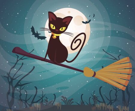 halloween dark scene with black cat vector illustration design Illusztráció