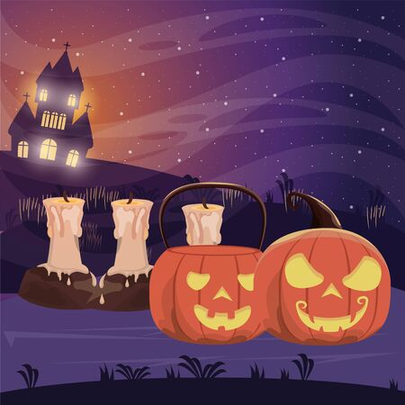 halloween dark scene with pumpkins and candles vector illustration design