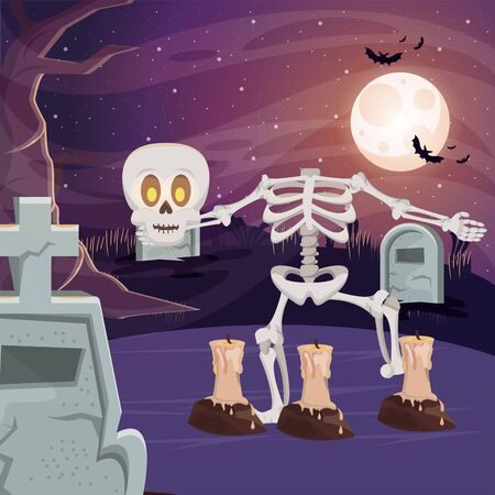 halloween dark scene with skeleton vector illustration design