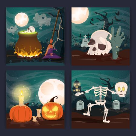 bundle of halloween dark scenes vector illustration design Ilustração